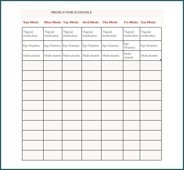 Medication Schedule Template Sample