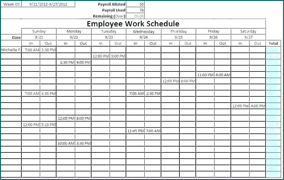 Monthly Work Schedule Template Example