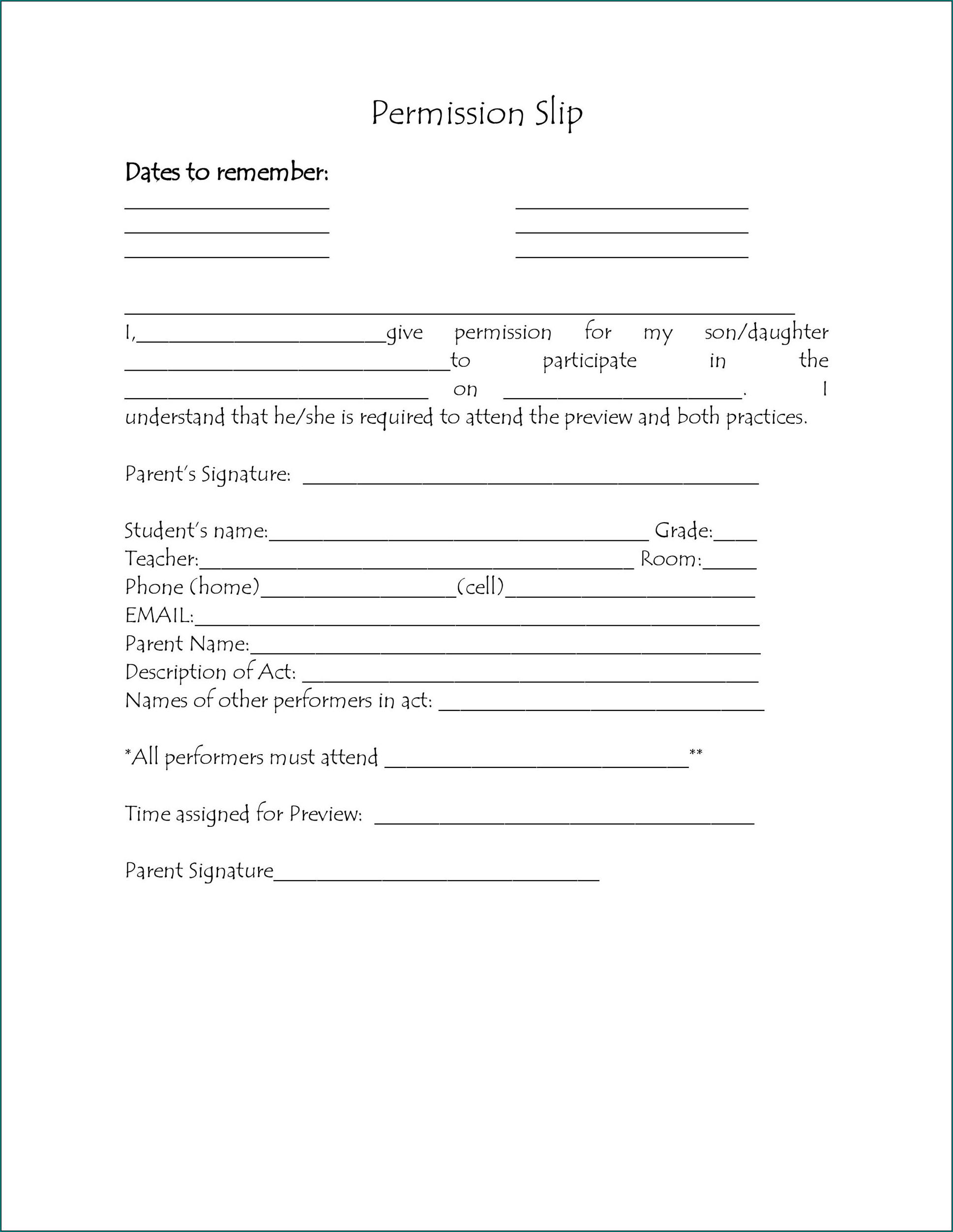 Parent Permission Form Sample
