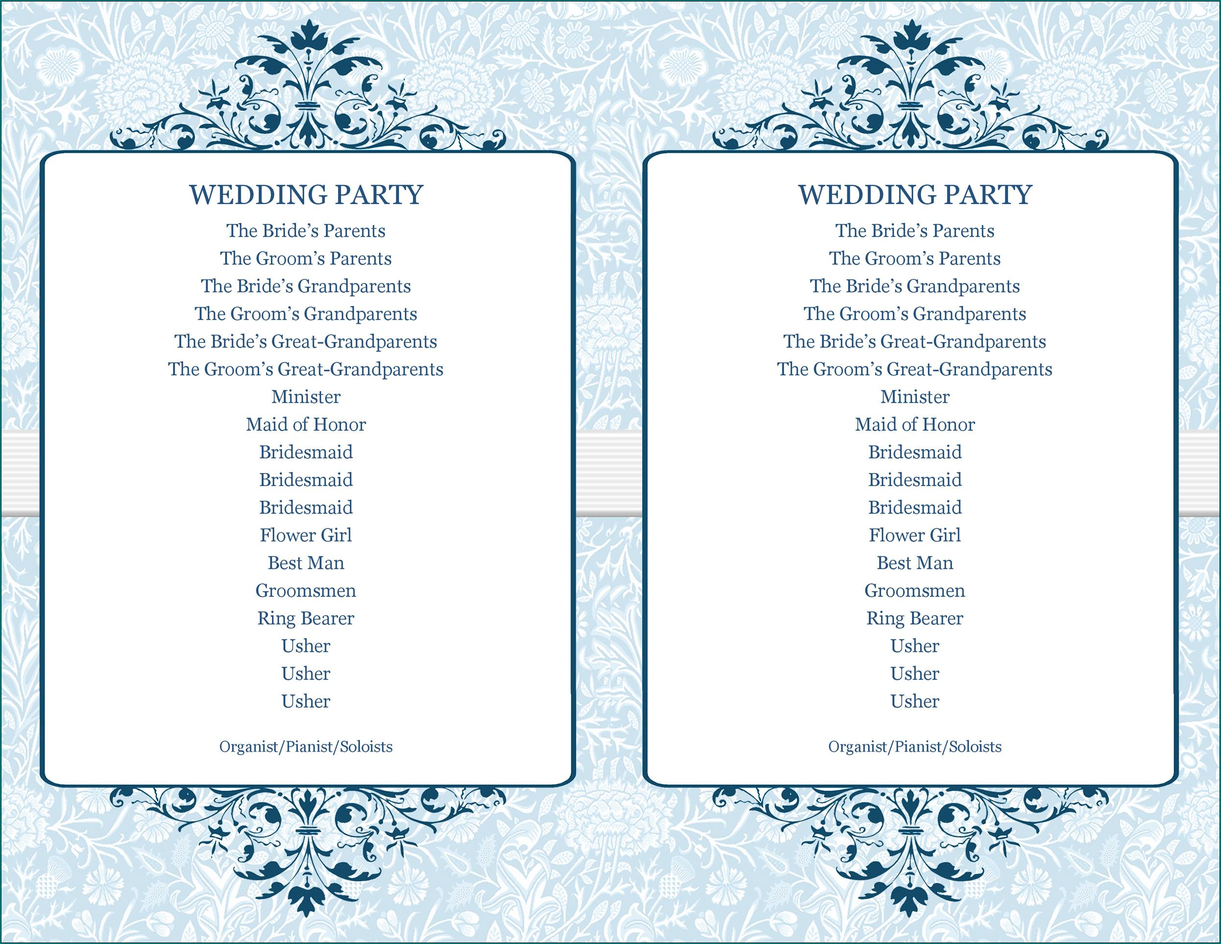 Party Program Template Example