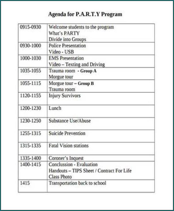 Party Program Template Sample