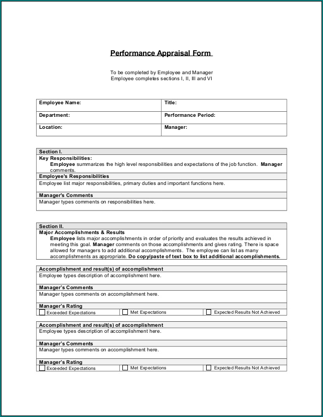 Performance Appraisal Form Example