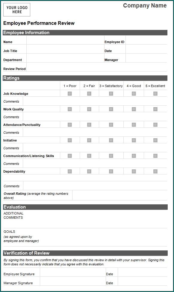 Performance Evaluation Form Sample