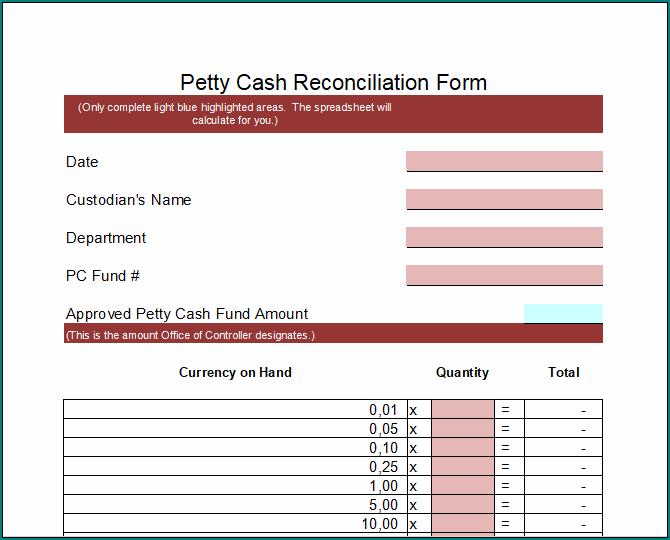 Petty Cash Reconciliation Form