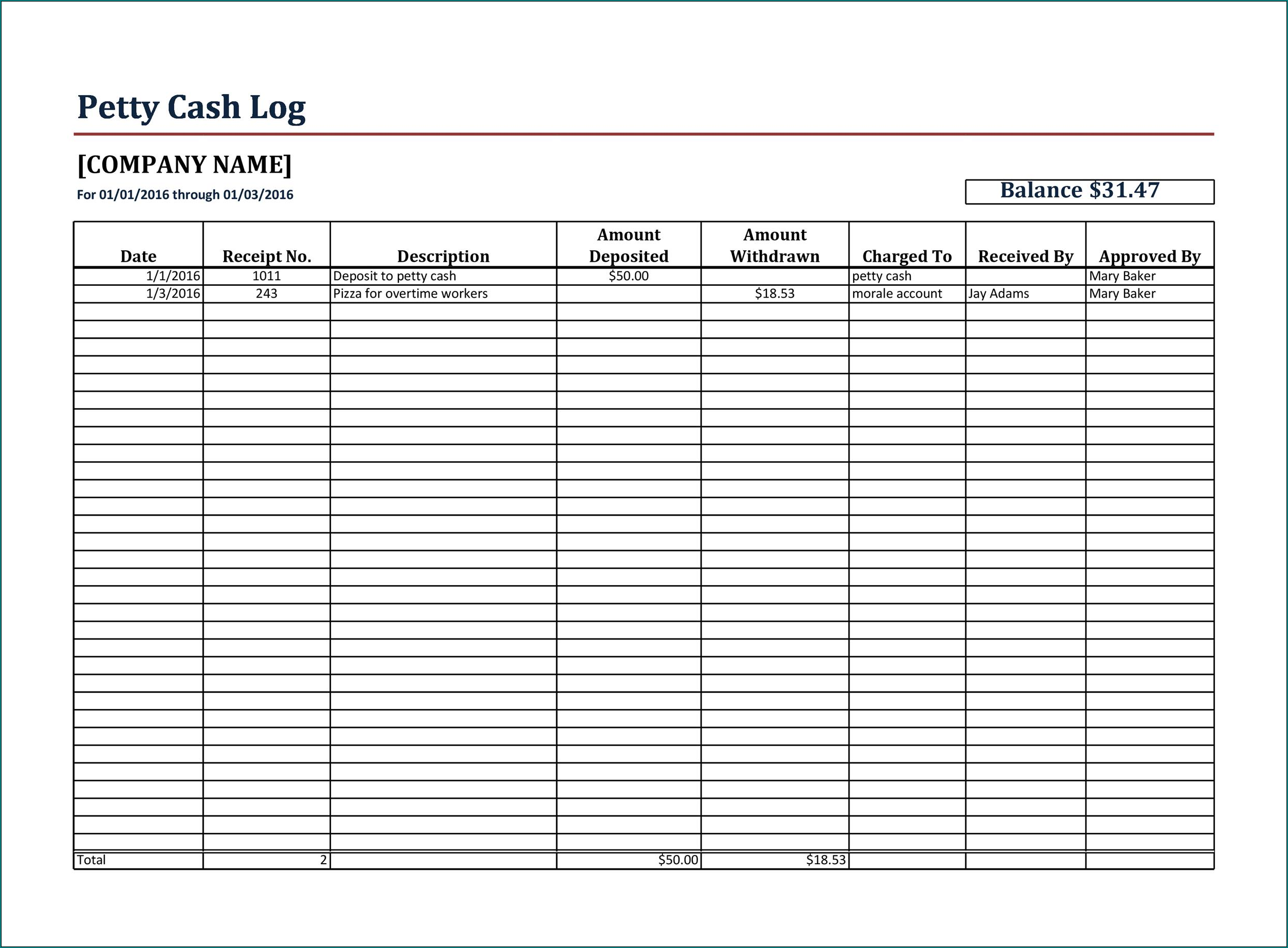 Petty Cash Template Excel Sample