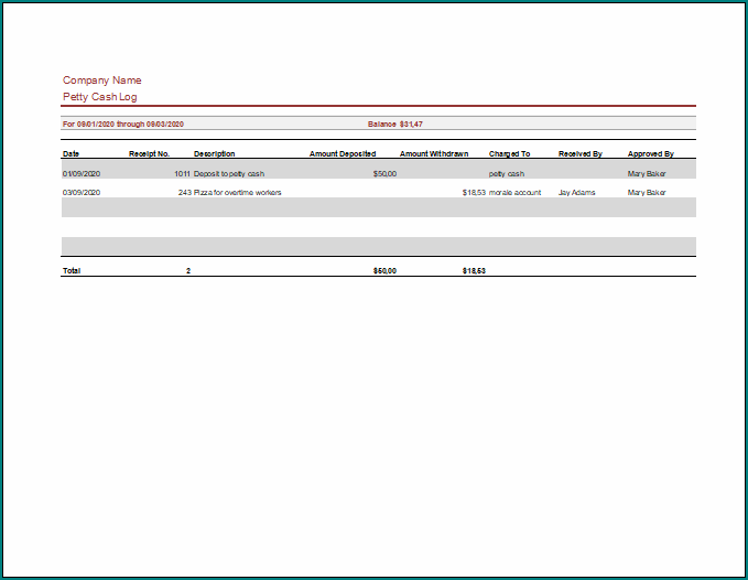 Petty Cash Template Excel
