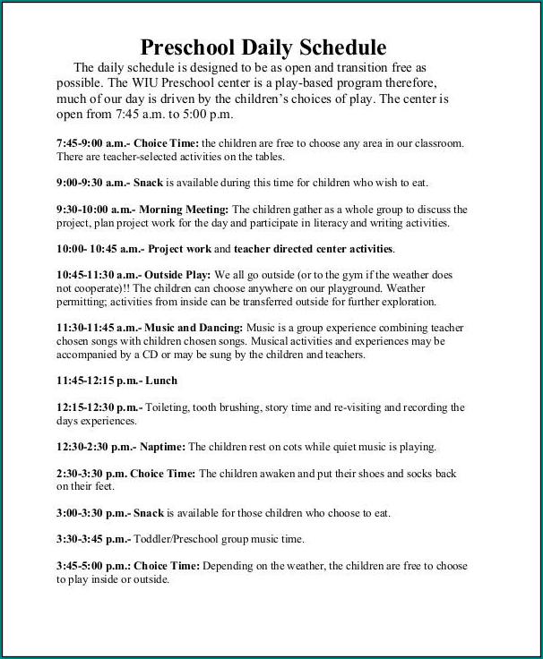 Preschool Daily Schedule Template Sample
