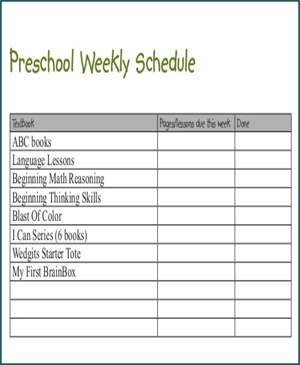 Preschool Schedule Template Example