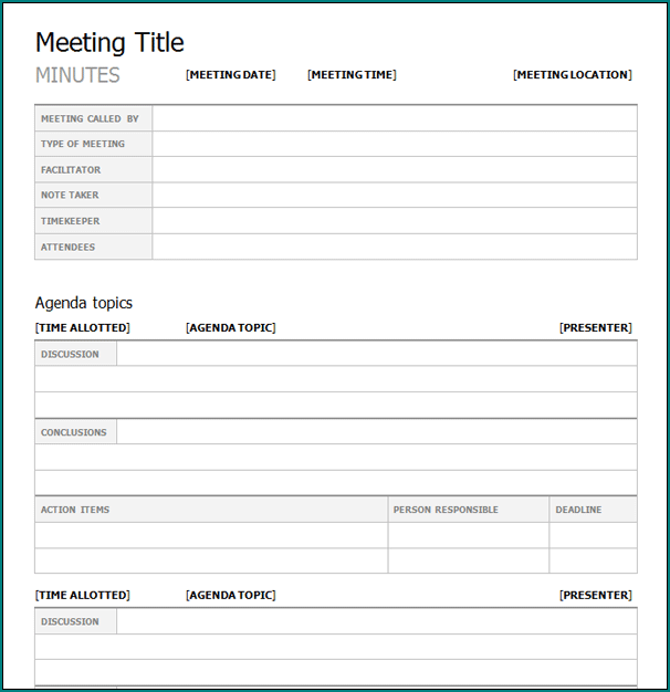 Professional Meeting Minutes Template Example