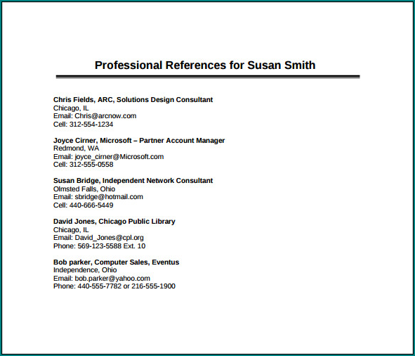 Professional References Template Example
