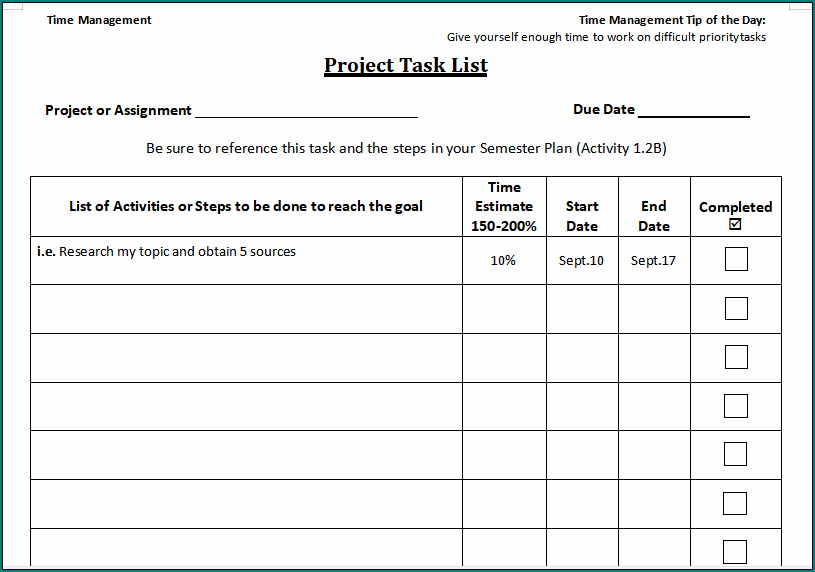 Project Management Task List Template