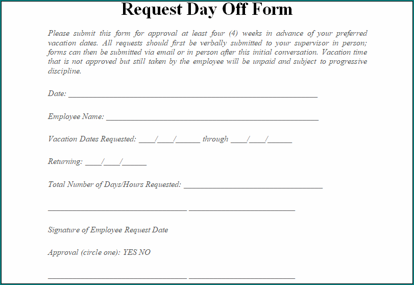 Request Day Off Form
