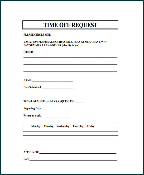 Request Time Off Form Sample
