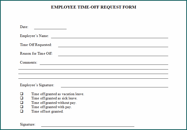 Requesting Time Off From Work