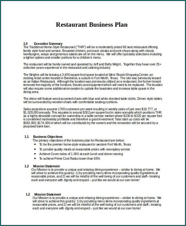 Restaurant Business Plan Template Sample