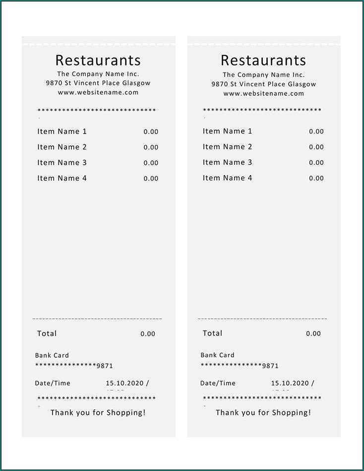 Restaurant Receipt Template Sample