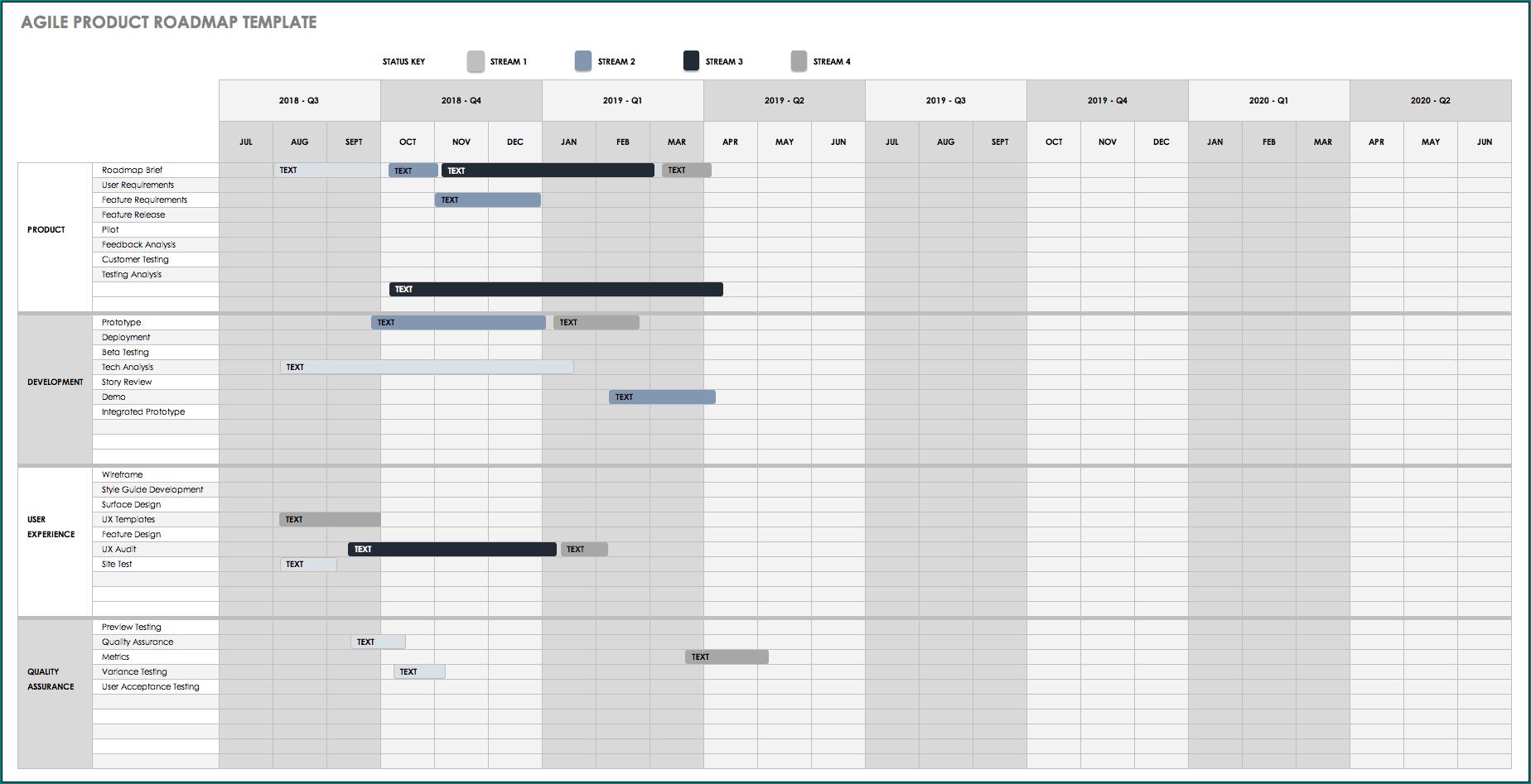 Roadmap Template Excel Sample