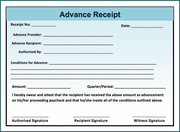 Sample of Advance Payment Receipt Template
