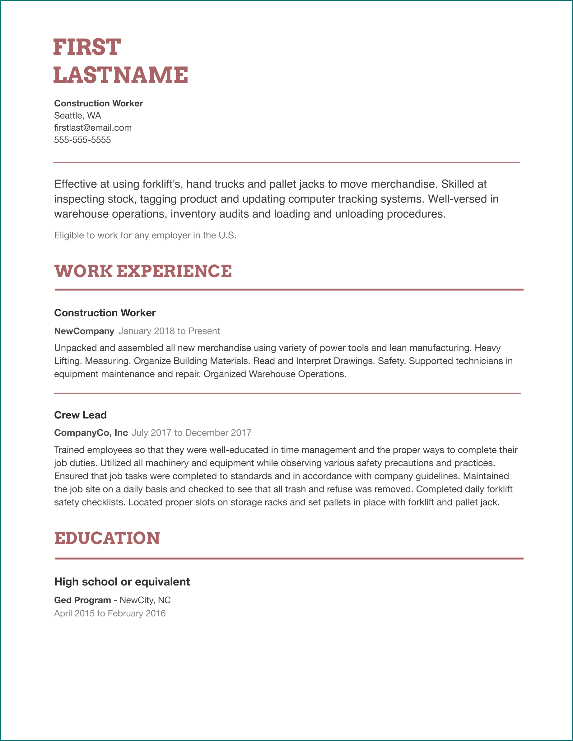 Sample of Basic Resume Template