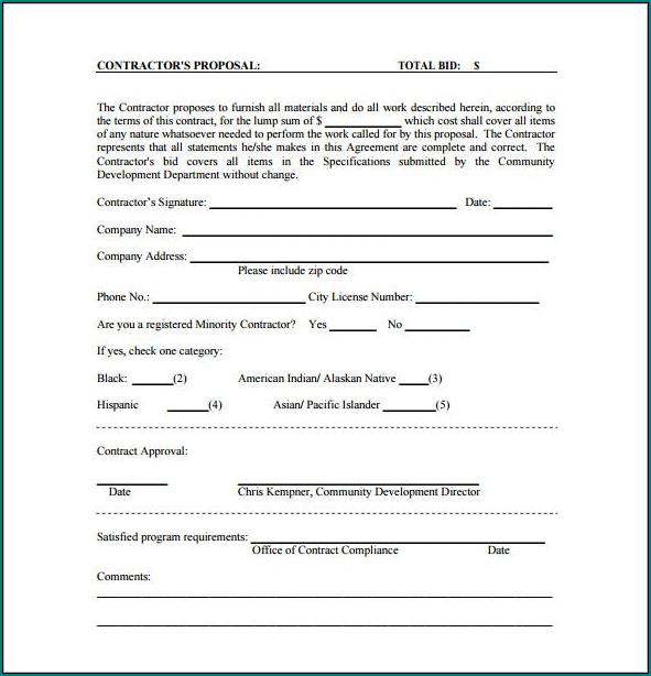 Sample of Bid Proposal Template