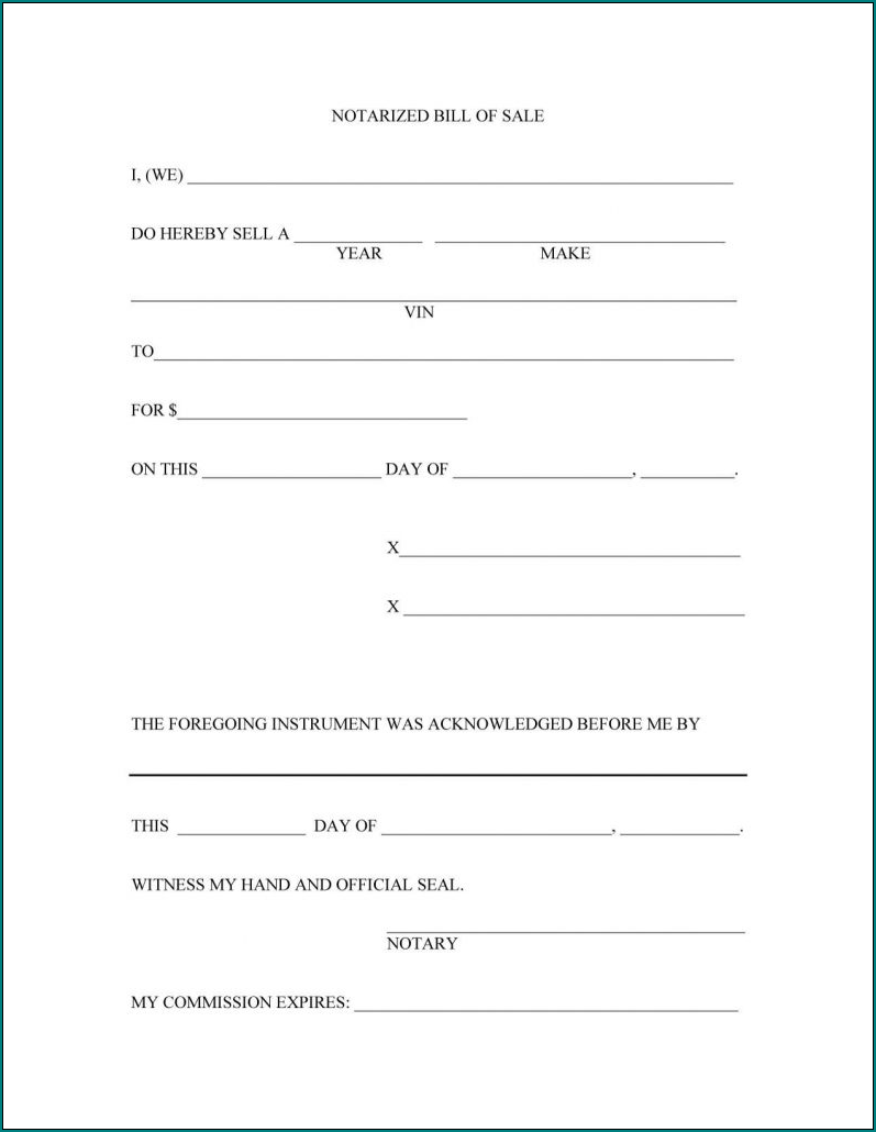 Sample of Bill Of Sale Template