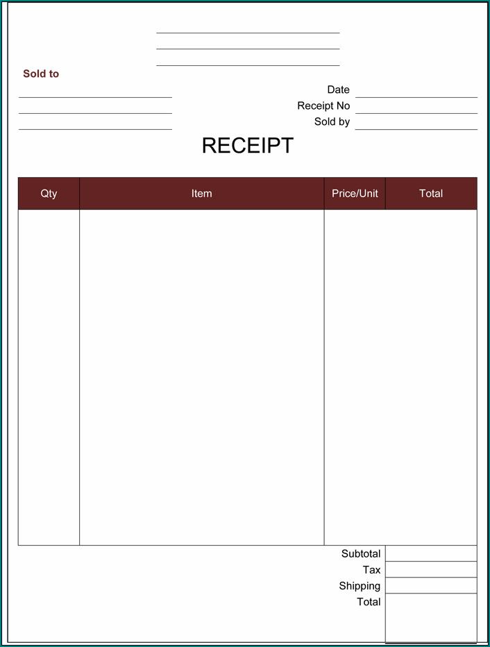 Sample of Blank Receipt Template