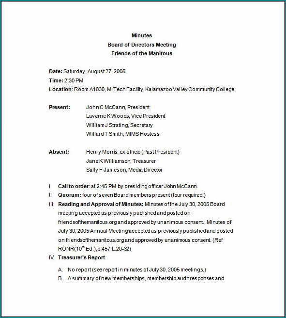 Sample of Board Meeting Minutes Template Word