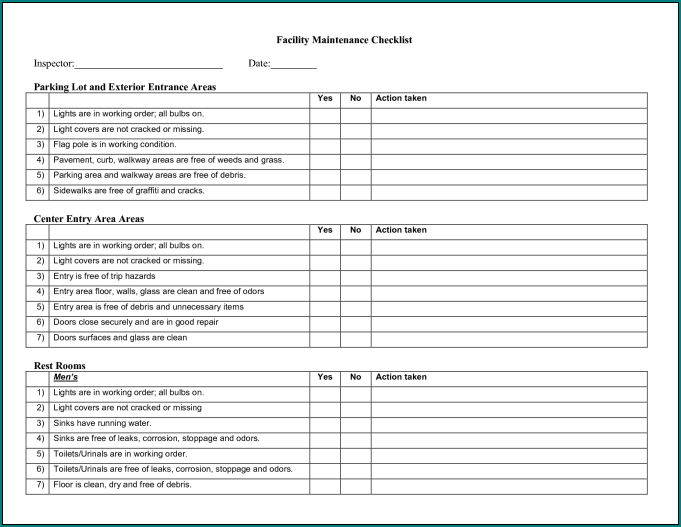 Sample of Building Maintenance Checklist Template