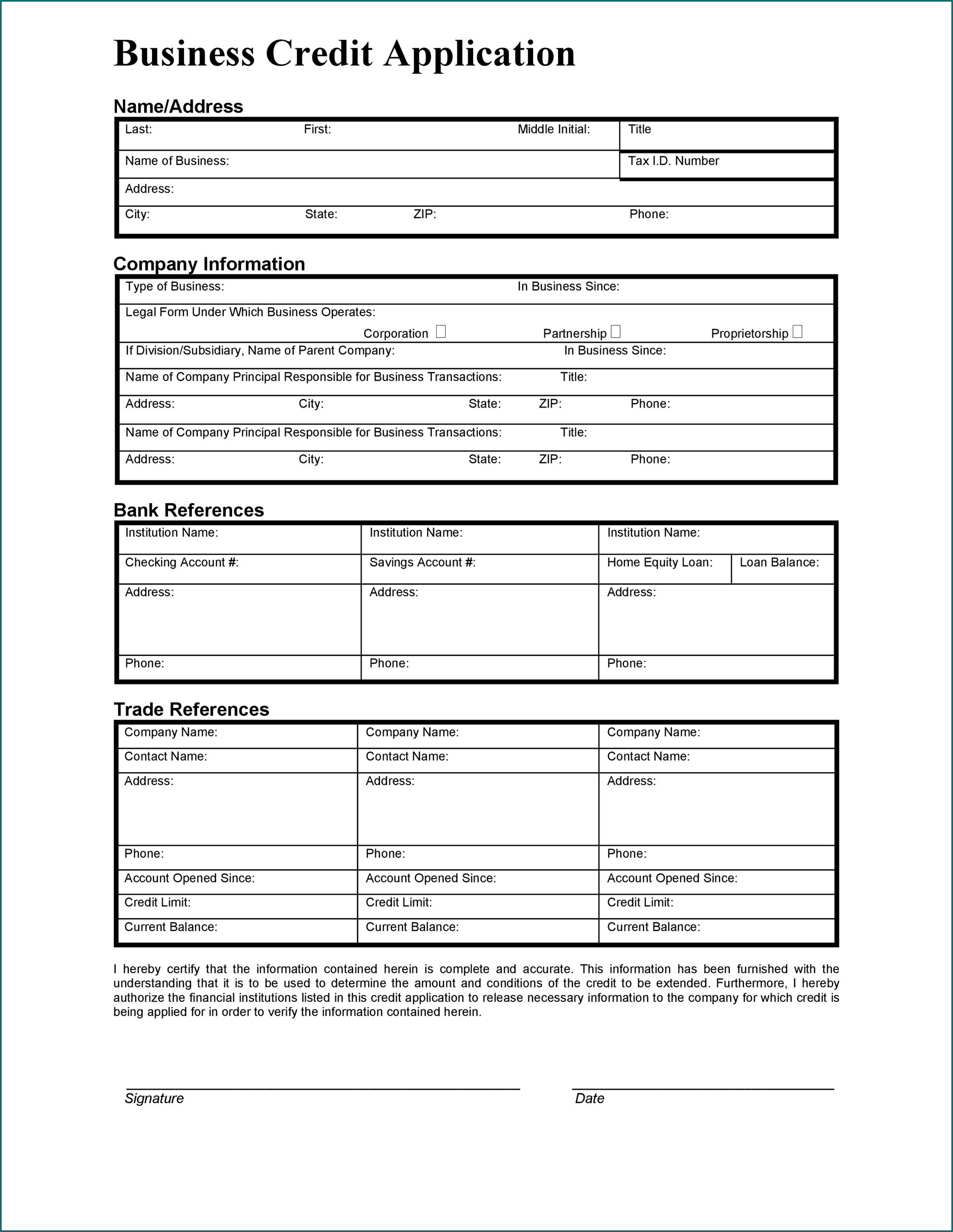 Sample of Business Credit Application Template