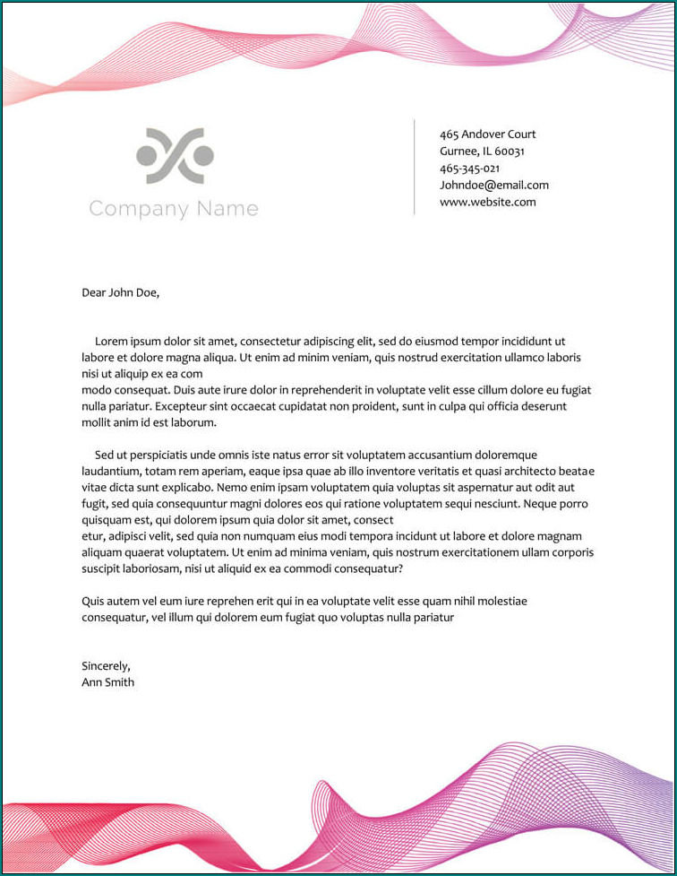 Sample of Business Letterhead Template