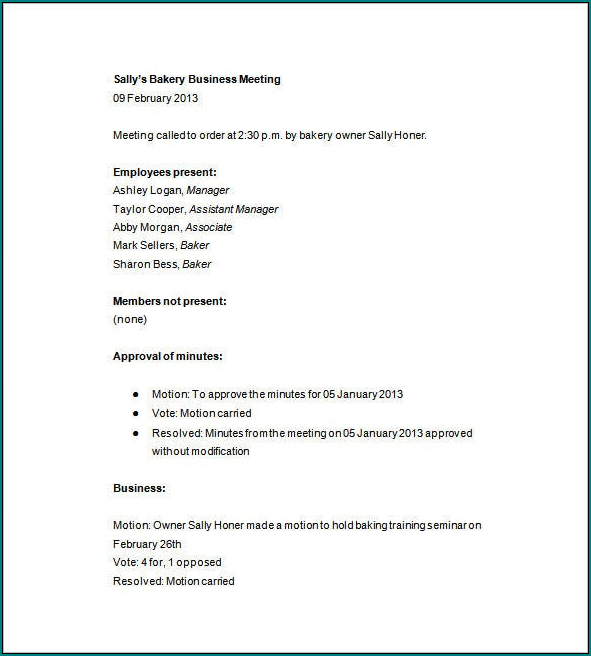 Sample of Business Meeting Minutes Template