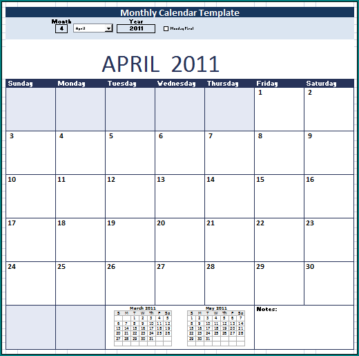 Sample of Calendar For Schedule Template