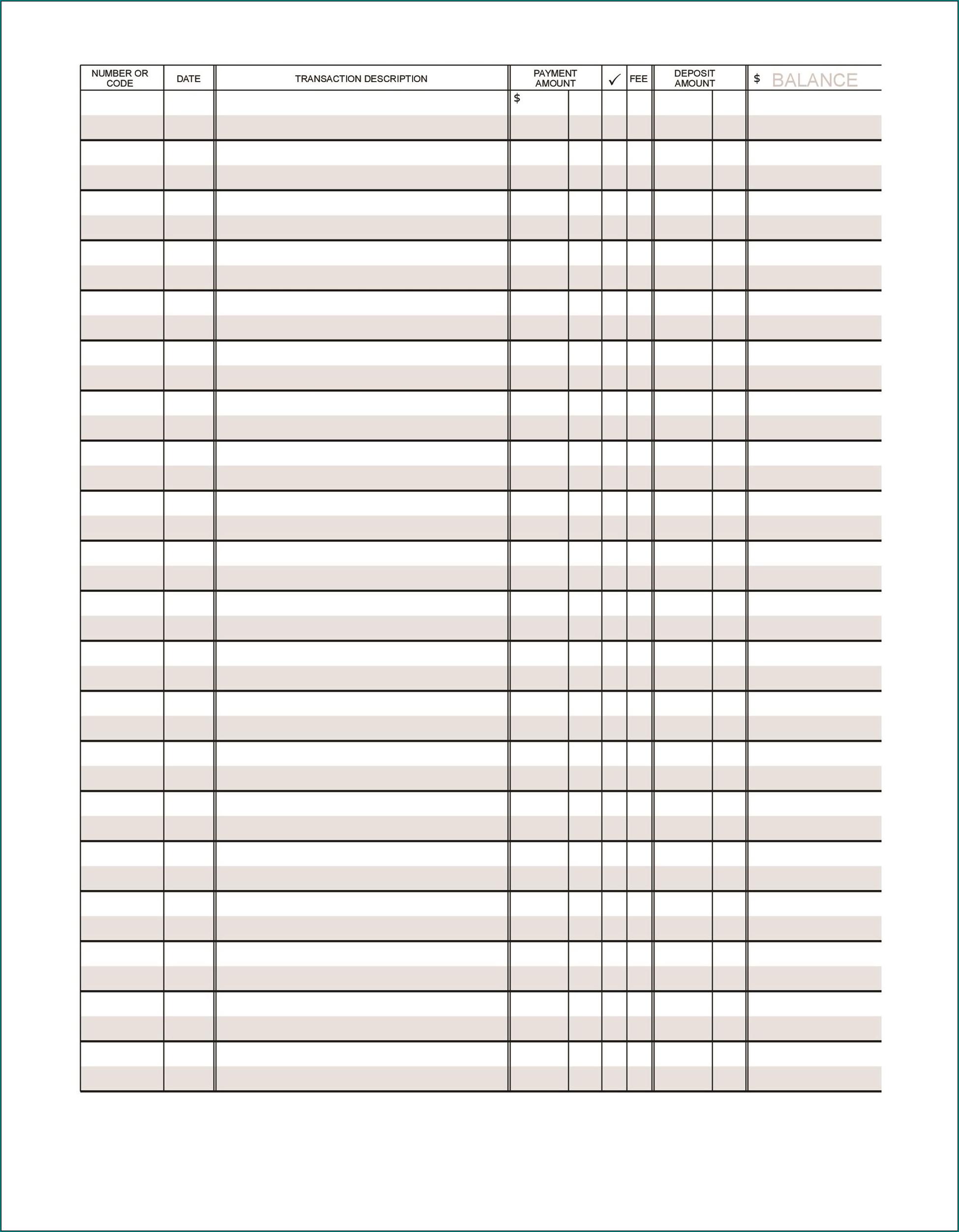 Sample of Checkbook Register Template
