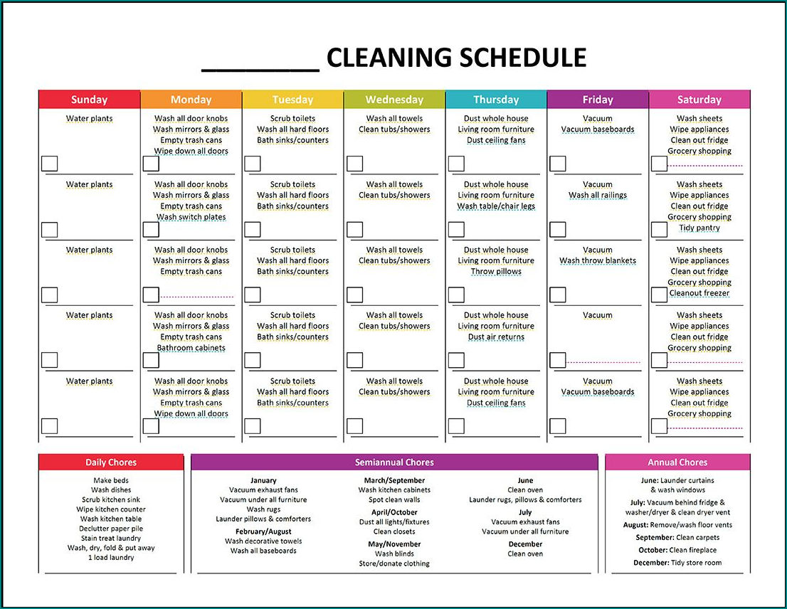 Sample of Cleaning Schedule Template