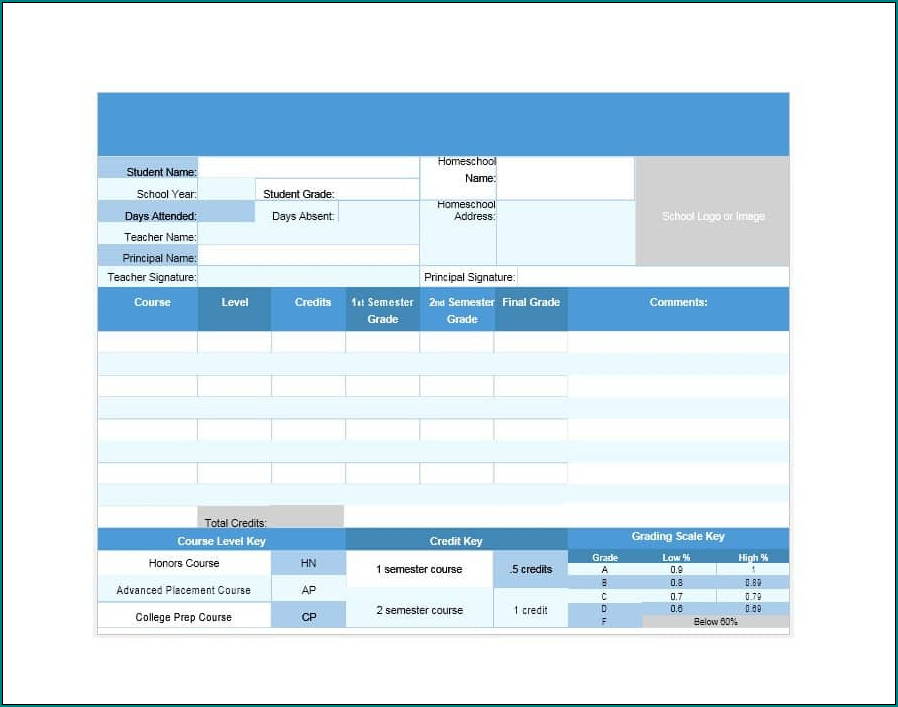 Sample of College Report Card Template