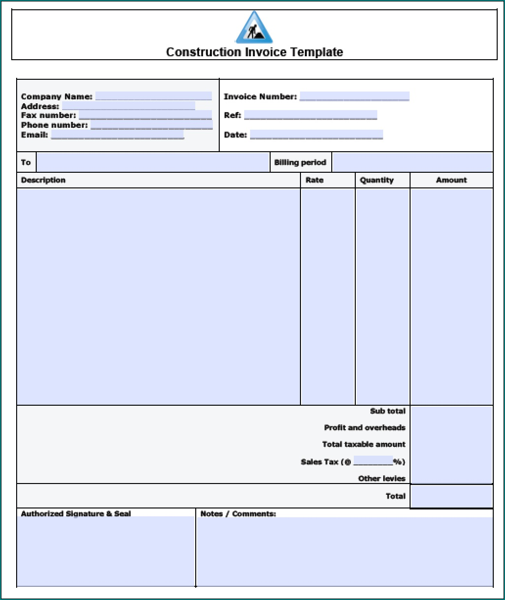 Sample of Construction Receipt Template
