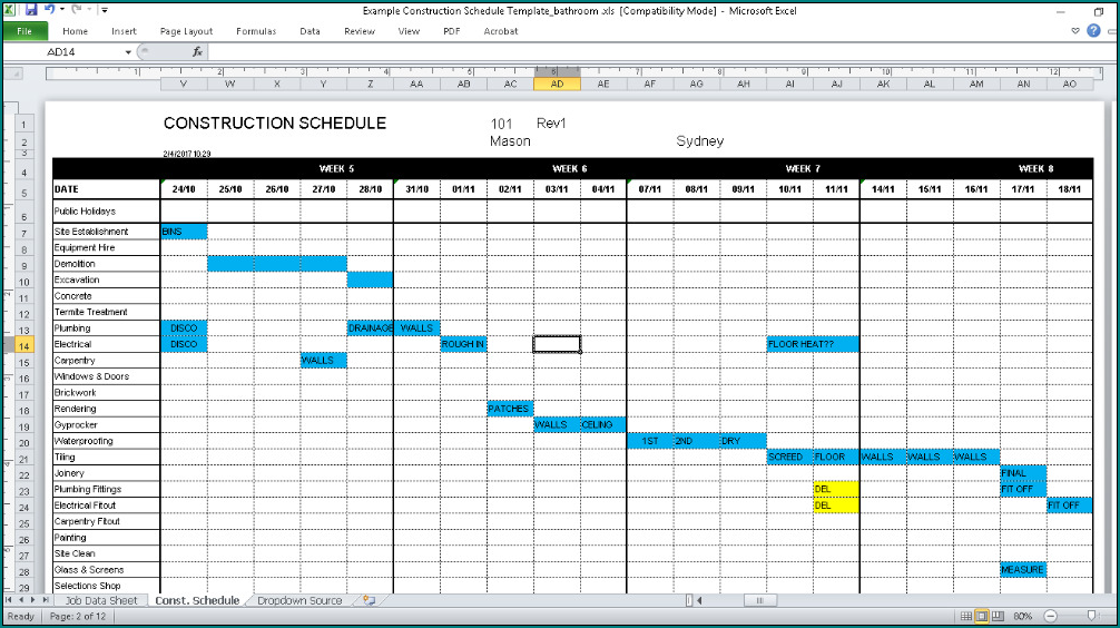 Sample of Construction Schedule Template Excel