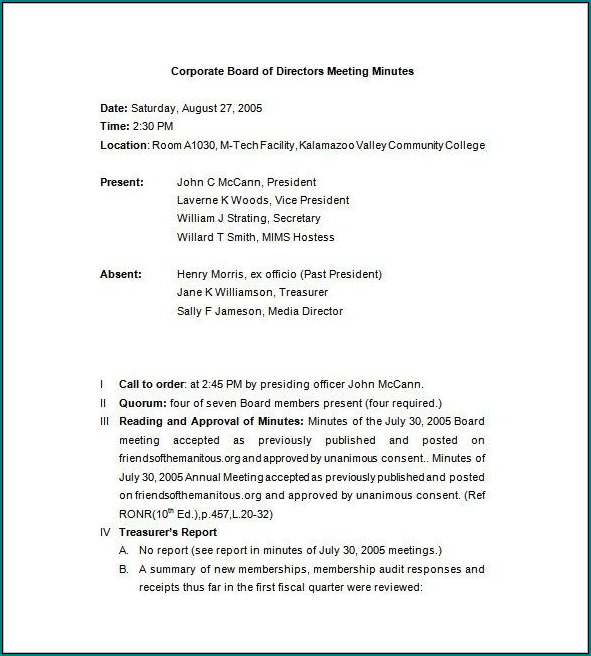 Sample of Corporate Meeting Minutes Template Word