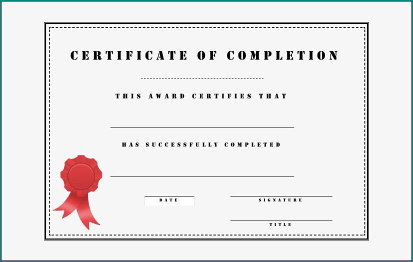 Sample of Course Completion Certificate Template