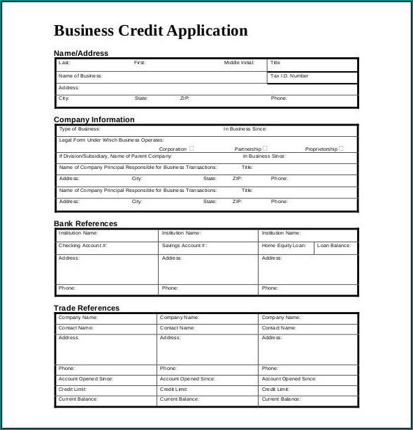 Sample of Credit Application Template