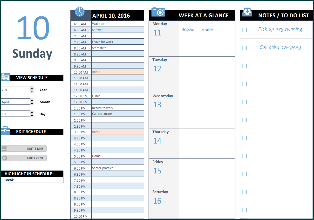 Sample of Daily Work Schedule Template