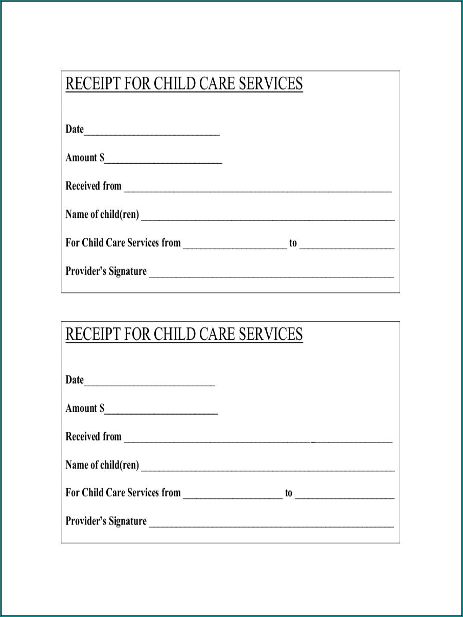 Sample of Daycare Receipt Template