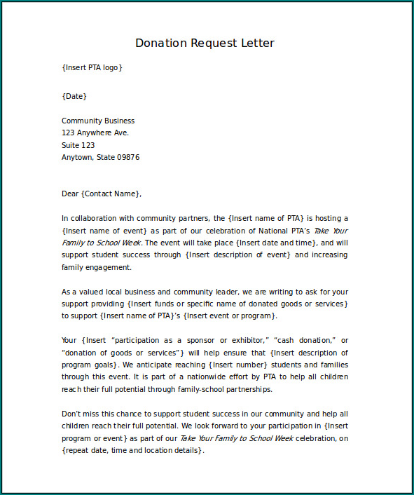 Sample of Donation Letter Template