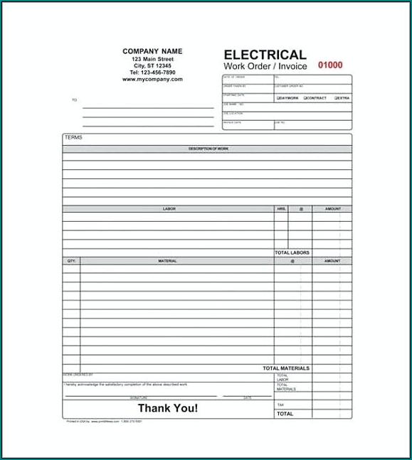 Sample of Electrician Receipt Template