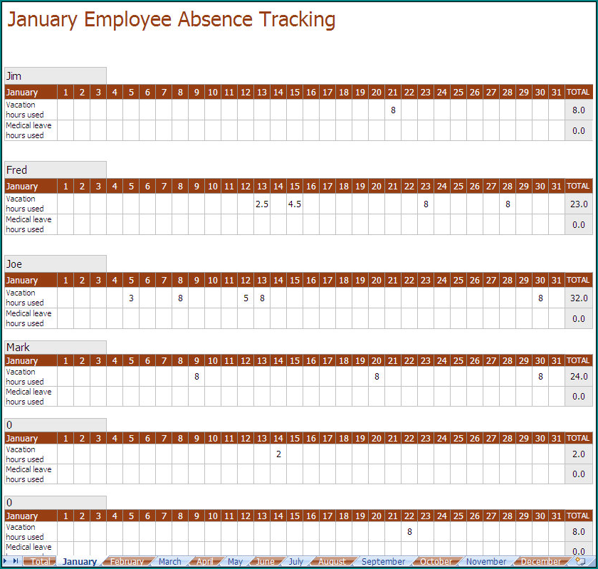Free Printable Employee Absence Schedule Bogiolo