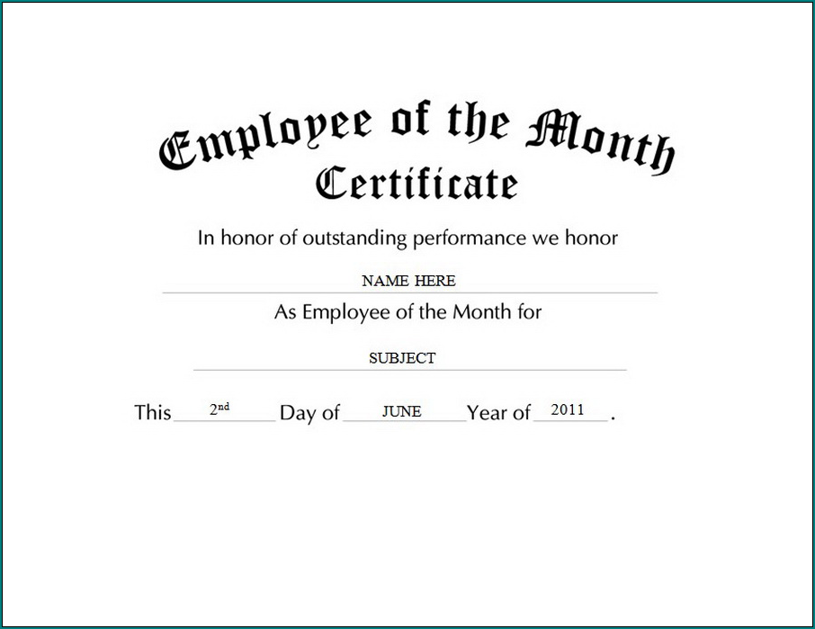 Sample of Employee Of The Month Certificate Template