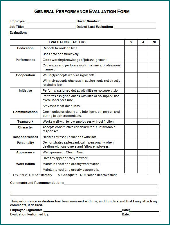 Sample of Employee Performance Evaluation Form