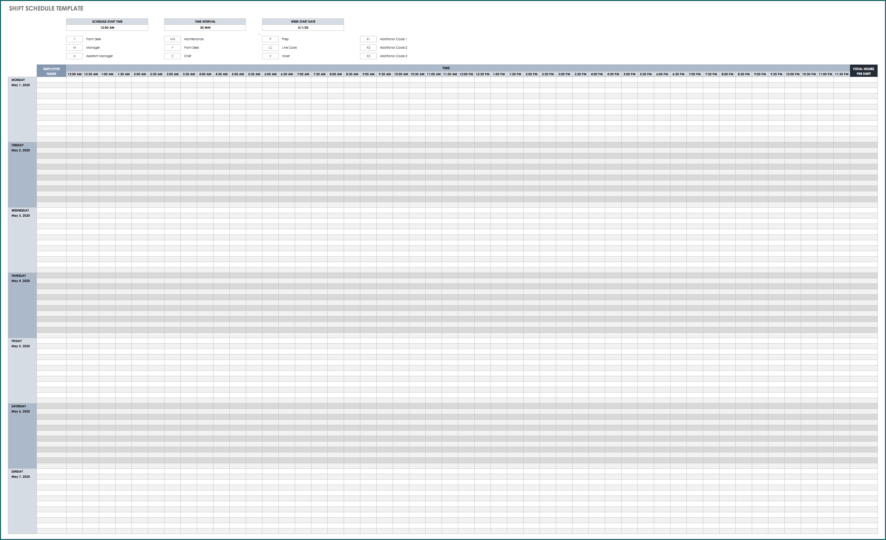 Sample of Employee Shift Schedule Template