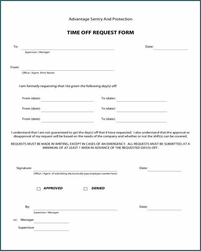 Sample of Employee Time Off Eequest Form