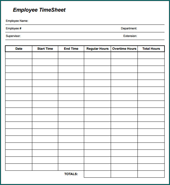 Sample of Employee Time Sheet Form